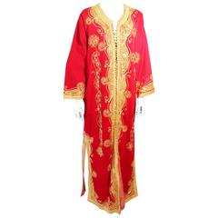 Moroccan Red Velvet Maxi Dress Caftan size L to XL