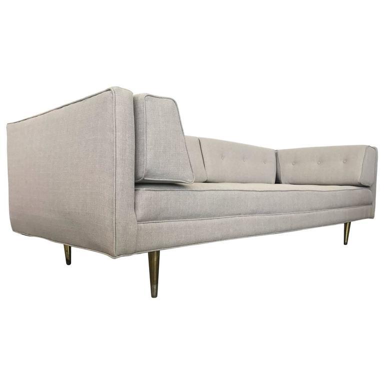 Mid-Century Modern Sofa Brass Feet