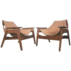 Mid-Century Walnut Sling Chairs by Leathercrafter