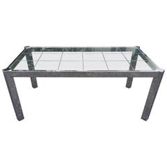 Design Institute of America Chrome and Glass Dining Table