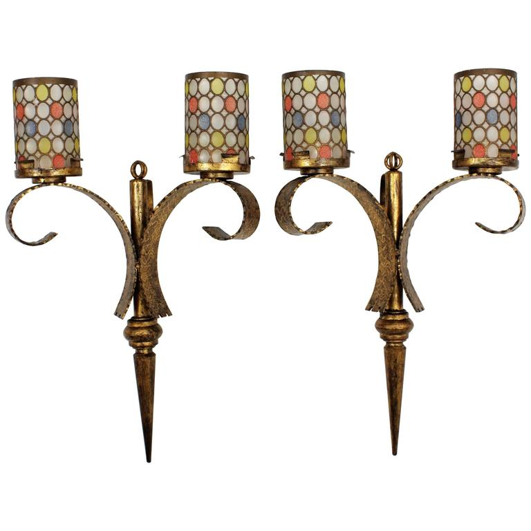 Pair of Huge Gilt Iron Wall Sconces with Colorful Glass Shades, Spain, 1940s