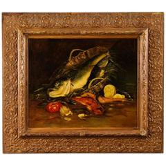 19th Century French Still Life Painting Oil on Canvas with Painted Frame