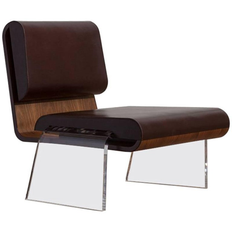 Walnut and Leather Hand Stitch Luroidea Lounge Office Chair With Perspex Legs