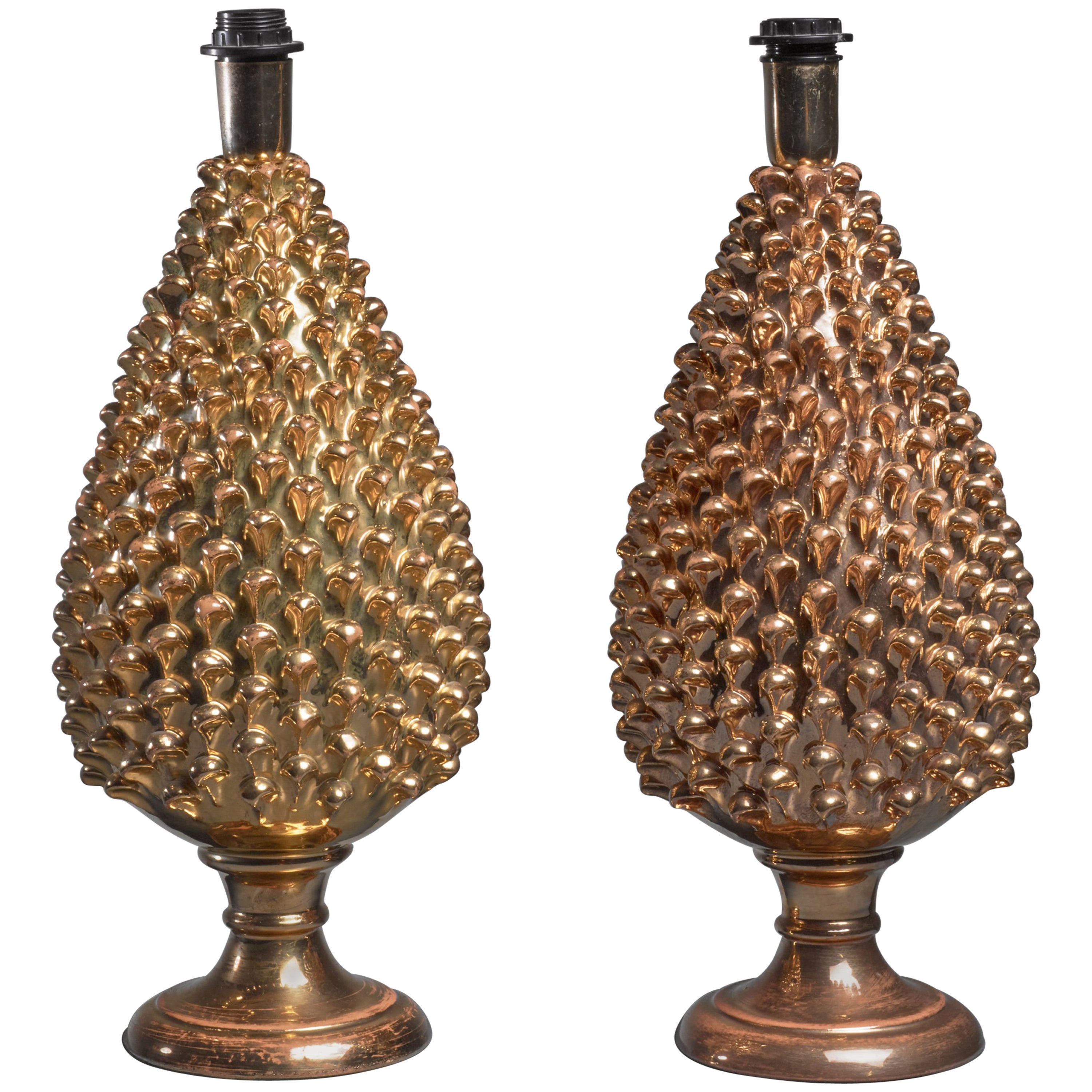 Mangani Pair of Painted Glass Table Lamps, Italy, 1960s