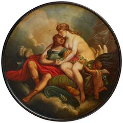 German Early 19th Century Lacquer Snuff Box by Stobwasser 'Mars and Venus'