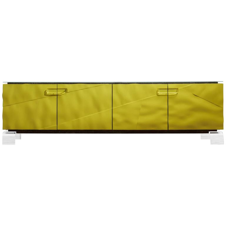 High Gloss Lacquered Bespoke Sideboard or Credenza With Perspex Legs & Handles