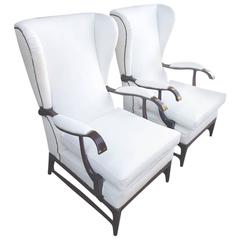 Paolo Buffa Lounge Chair in White Leather wingback style 1950s dark wood