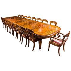 Huge Bespoke Handmade Marquetry Burr Walnut Extending Dining Table 18 Chairs