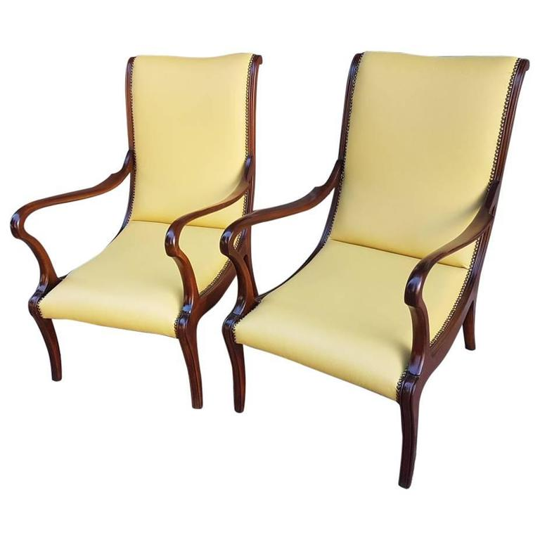 Italian 1950s Lounge Chairs Fully Restored Yellow Leather and Wood Structure