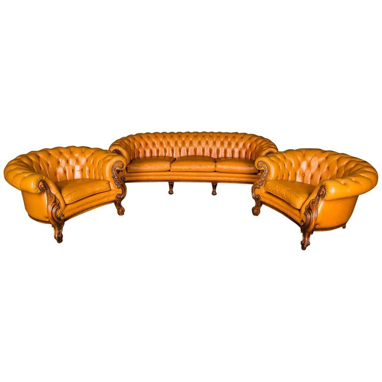 Italian Sofa Set With Quilted Leather Chesterfield In