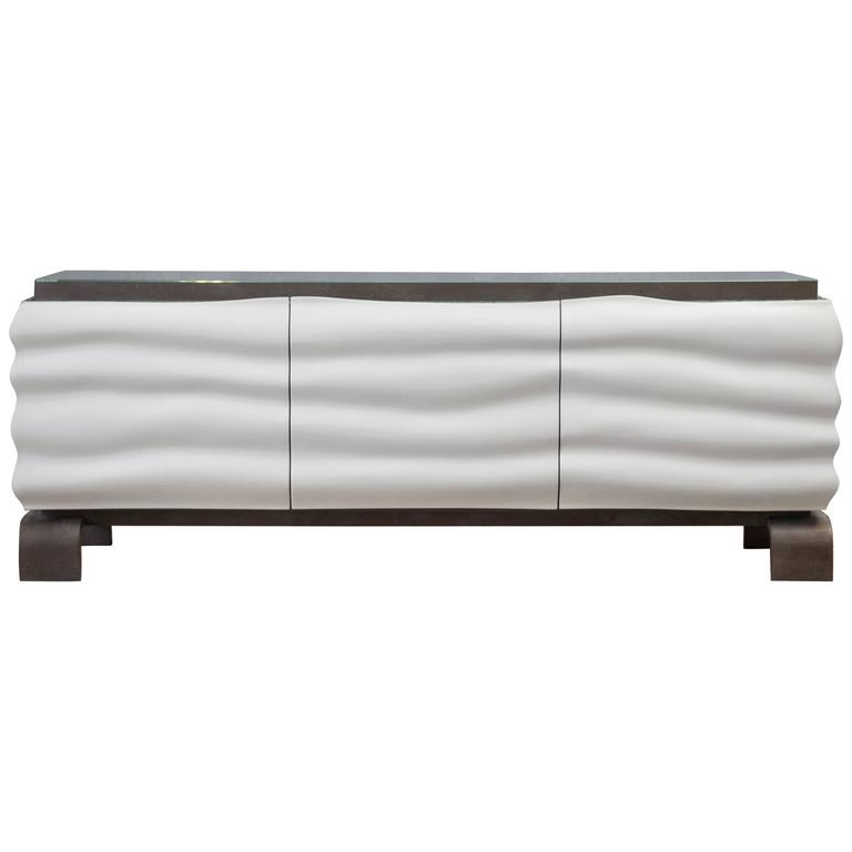 White High Gloss Lacquered Sideboard Or Credenza With Mitred Low Iron Gl For