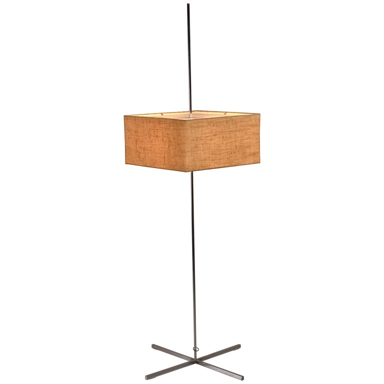 Chrome Floor Lamp with an Adjustable Square Fabric Shade, Denmark, 1950s