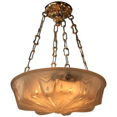 French Art Deco Pendant Light by Muller Freres