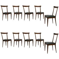 Set of Ten Chairs After Ico Parisi, Italy, 1950s