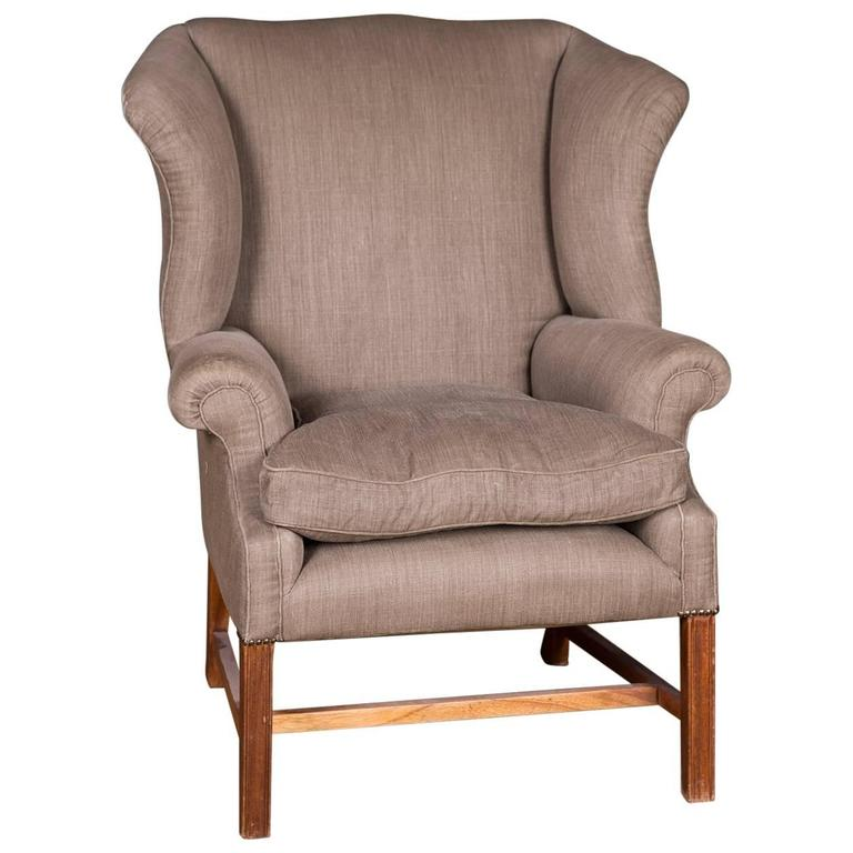 Original English Chesterfield Armchair With High Quality Linen Fabric For  Sale