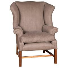 Original English Chesterfield Armchair with High Quality Linen Fabric