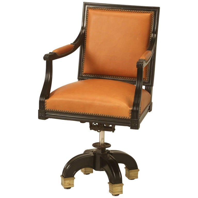 French Louis XVI Style Desk Chair Done in Ebony and Saddle Leather For Sale