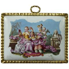 Miniature English Enamel Plaque, circa 1765 Georgian Classical Scene