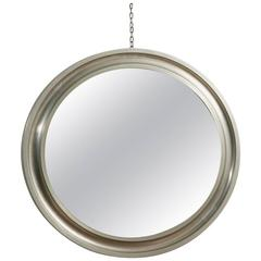 Sergio Mazza Narciso Nickel Plated and Satinized Wall Mirror for Artemide, 1960s