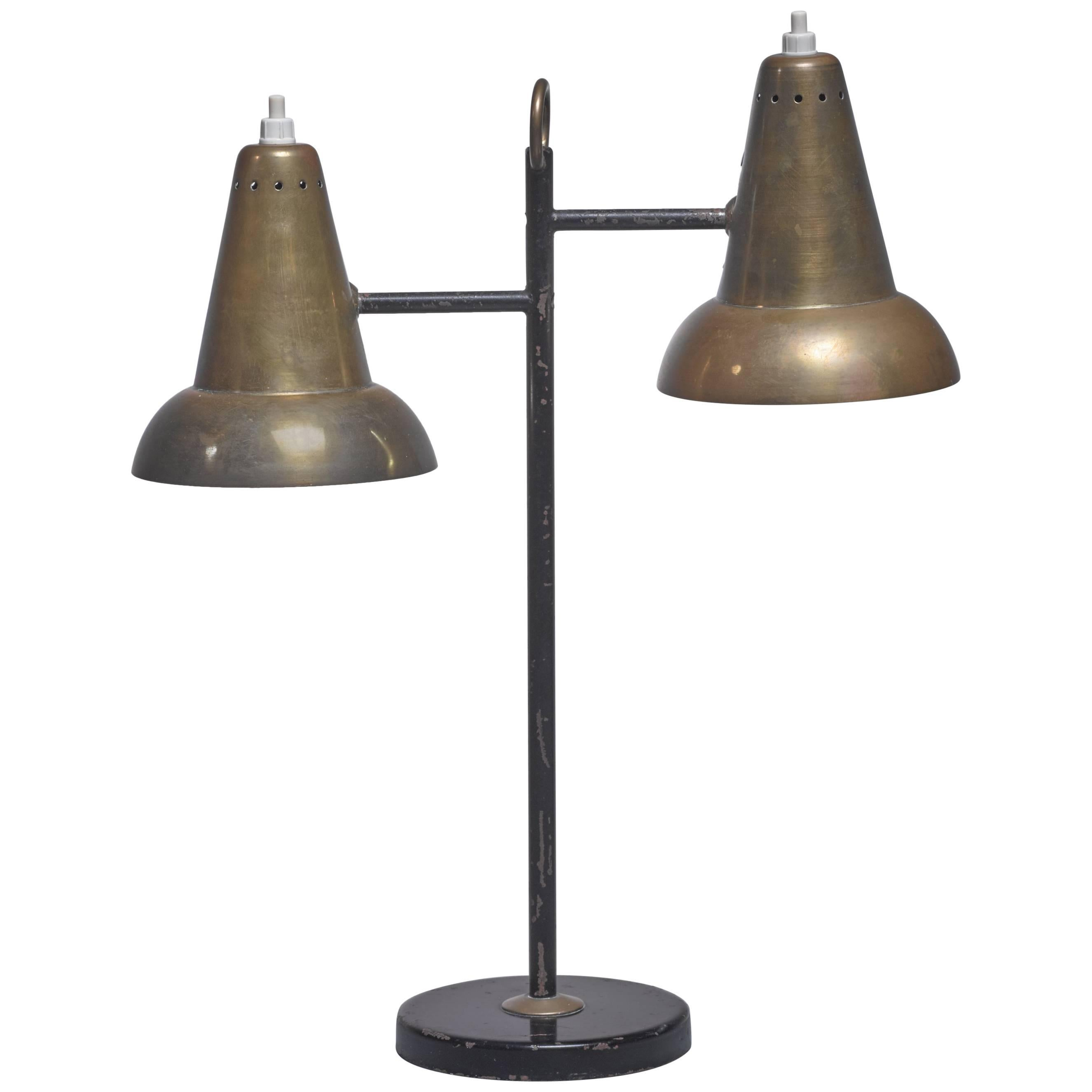 Metal And Brass Table Lamps With Two Hoods, France, 1950s