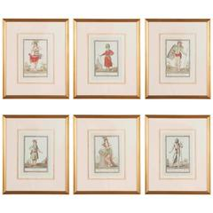 Set of Six Colored Engravings 'Costumes of Various Countries', 18th Century