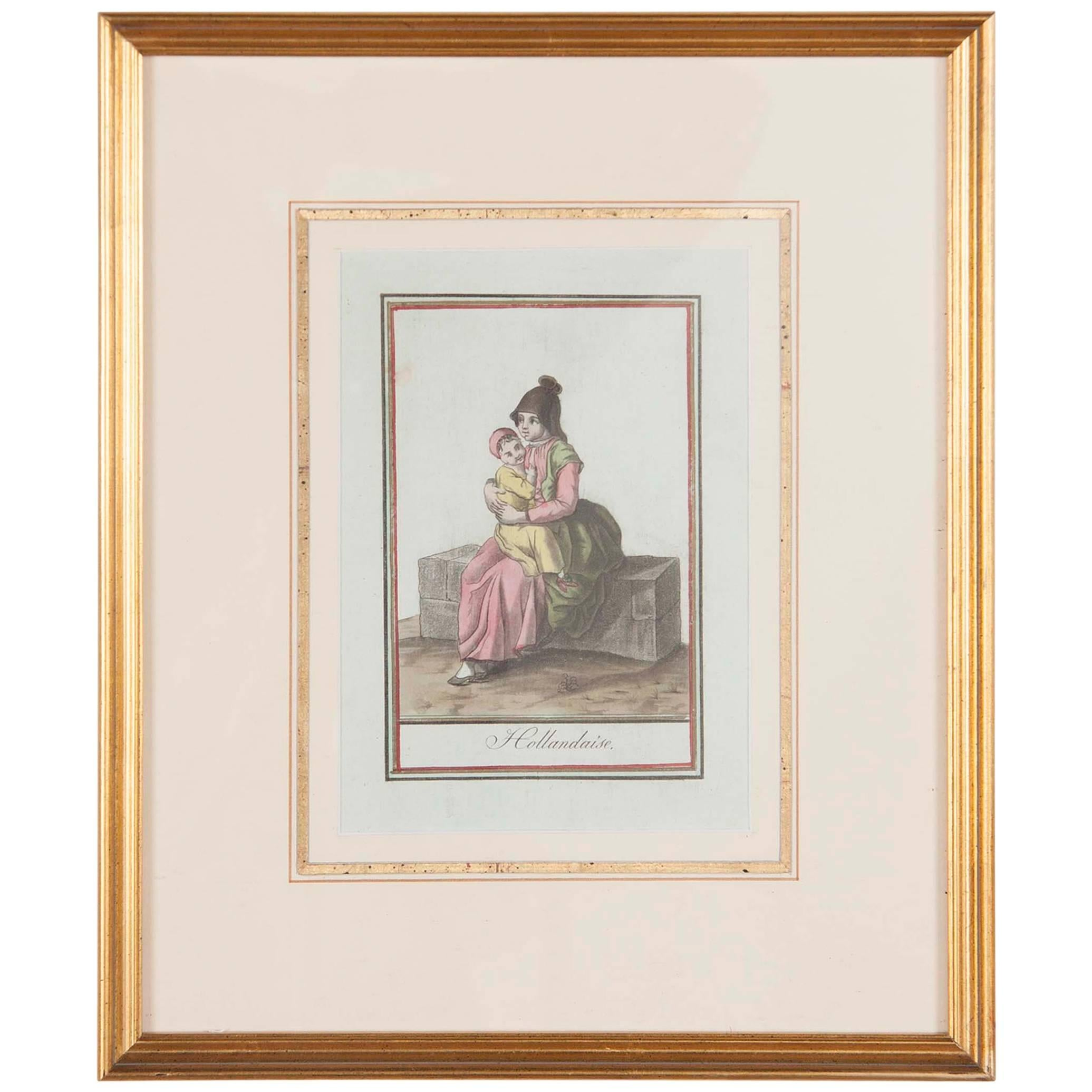 18th Century French Hand Colored Engraving of a Dutch Mother and Child
