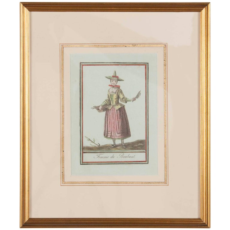 French Hand Colored Engraving 'Femme Du Brabant'