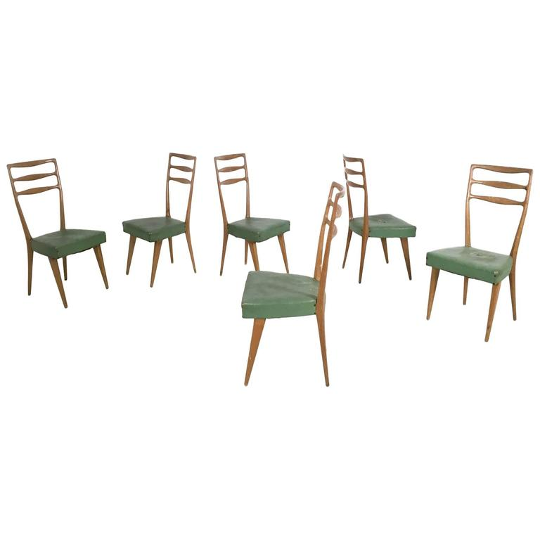 Set of Six Walnut and Skai Chairs in the Style of Buffa, Prod. Cantù, Italy