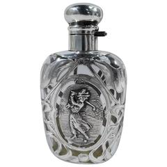 Antique Silver Overlay Flask with Lady Golfer