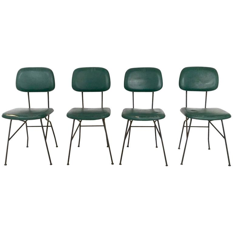 Set of Four Metal and Skai Chairs Ascribable to Gastone Rinaldi for Rima, 1950s