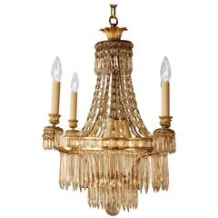 Elegant French Crystal and Bronze Chandelier