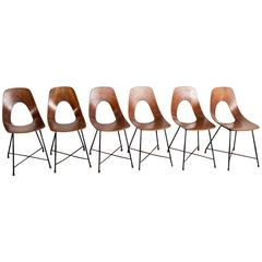 Augusto Bozzi Set of Six Ariston Chairs for Saporiti