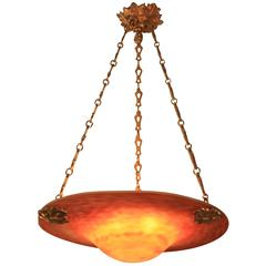 French Art Nouveau Handblown Art Glass Chandelier
