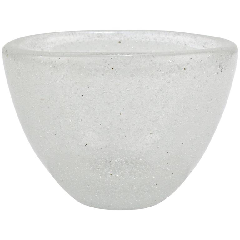 White Pulegoso Glass Vase by Carlo Scarpa for Venini