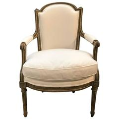 French Painted Louis XVI Style Armchair, circa 1880