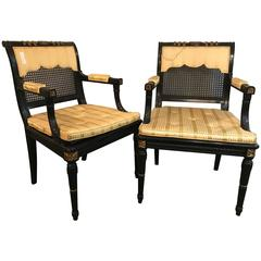 Hollywood Regency Pair of Ebony and Gilt Gold Armchairs Attributed Maison Jansen