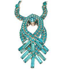 1960s Blue Sapphire Austrian Crystal 3D Choker Necklace