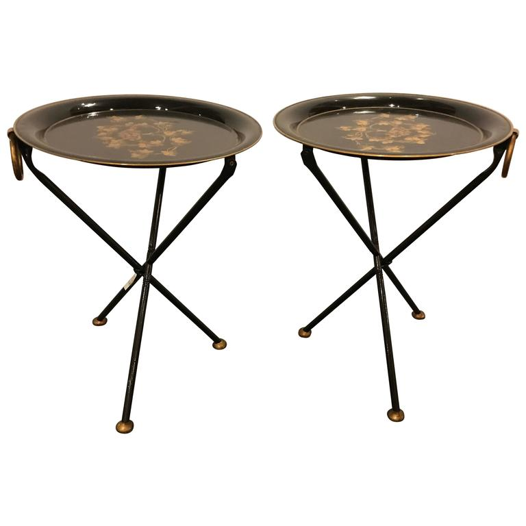 Pair of Diminutive Paint Decorated Tole Folding Tables Candle Stands For Sale