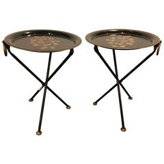 Pair of Diminutive Paint Decorated Tole Folding Tables Candle Stands
