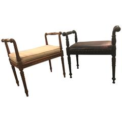 Pair of Louis XVI Style Carved Footstools or Benches