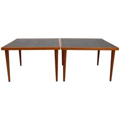 Pair of Martz Walnut and Tile End Tables for Marshall Studios