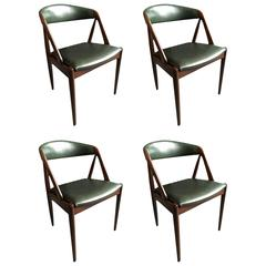 Kai Kristiansen Dining Chairs, model 31, restored set of 4.