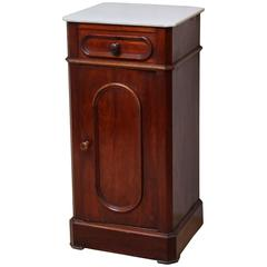 French Mahogany Marble-Top Pot Cupboard