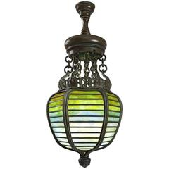 Tiffany Studios New York Bronze and Glass Lantern