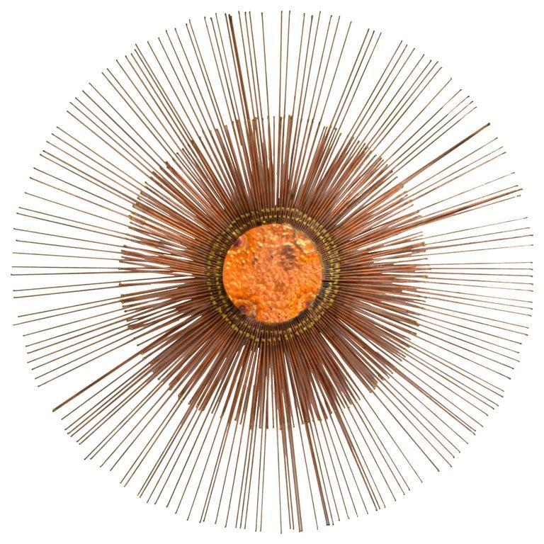Curtis Jere Copper Rod Sunburst Wall Sculpture For Sale