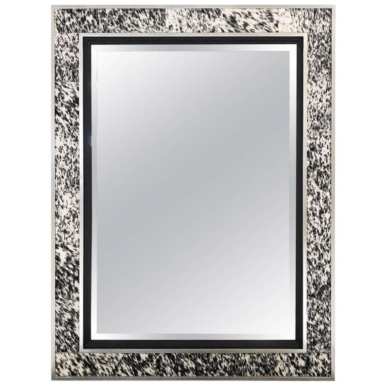 Beveled Mirror In Natural Speckled Cowhide And Silver Finish Frame For