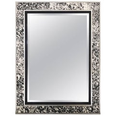 Beveled Mirror in Natural Speckled Cowhide and Silver Finish Frame