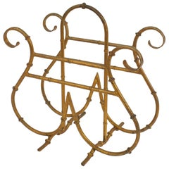 "American Mid-Century ""Hollywood Regency"" Gilt Metal Magazine Rack"