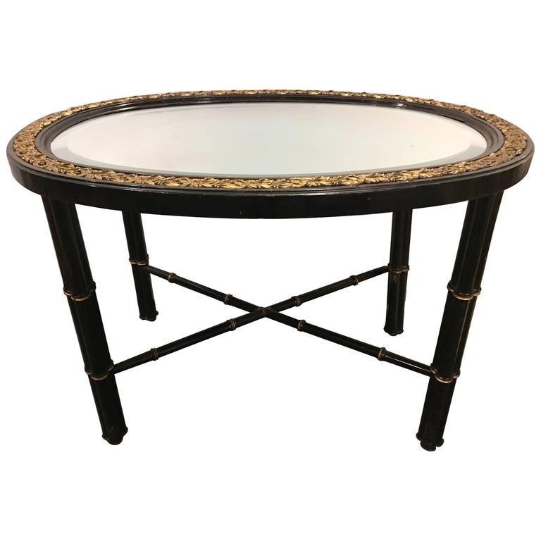 Hollywood Regency Beveled Mirror Top Black Oval Coffee Table With Bronze Mounts For Sale At 1stdibs