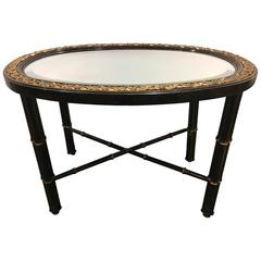Hollywood Regency Beveled Mirror Top Black Oval Coffee Table with Bronze Mounts